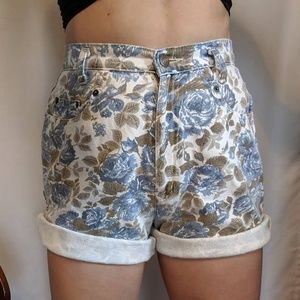Blue and White Floral Denim High Waisted Shorts